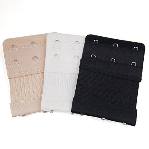 From 1.98:Women Comfortable Bra Strap Extenders 2x3 Hooks 3 Pack- White Black Beige