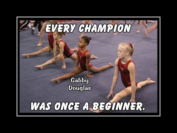"Gymnastics Poster Gabby Douglas Olympic Champion Gymnast Photo Quote Wall Art 5x7""- 11x14"" Every Champion Was Once A Beginner -Free USA Ship"