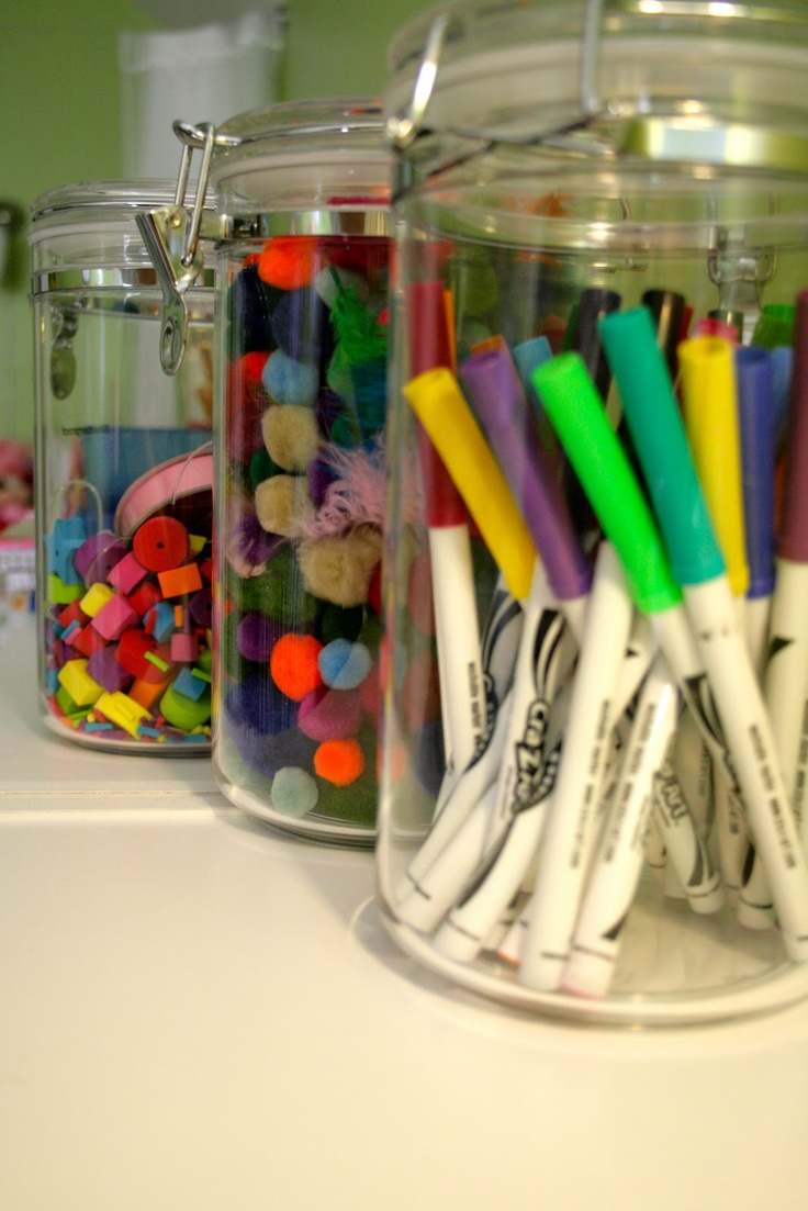 Fun idea to organize stuff in kids craft area