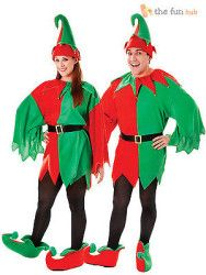 Elf Christmas Santas Helper Mens Womens Fancy Dress Tunic Hat   Boots Costume