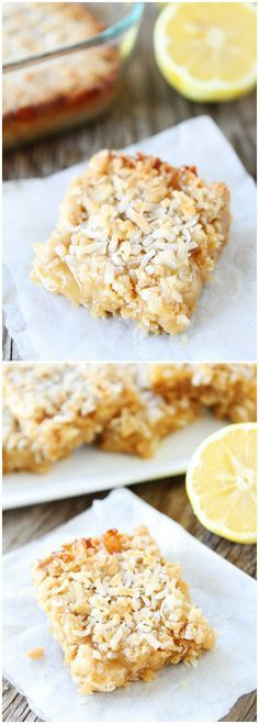 Lemon Coconut Crumb Bars Recipe on twopeasandtheirpod.com Made with coconut oil and lemon curd! Love these spring bars!