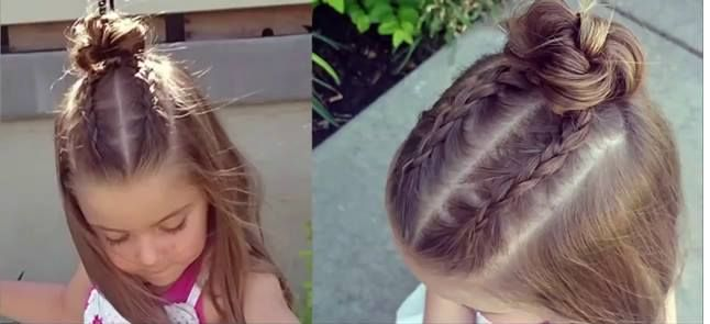 How to do Dutch Braid Top Knot Bun For Little Girls READ MORE: http://www.beautifuldiyhairstyles.com/how-to-do-dutch-braid-top-knot-bun-for-little-girls/