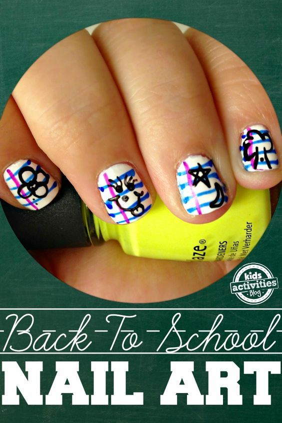 back to school notebook paper nail art - Perfect for the kid who wants to show their back to school dedication! Click now!