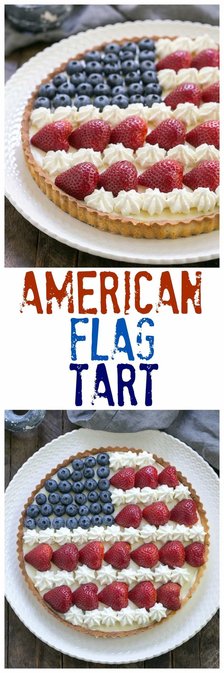 American Flag Fruit Tart | Pate sablee crust, light cream cheese filling and berries and cream stars and stripes! @lizzydo