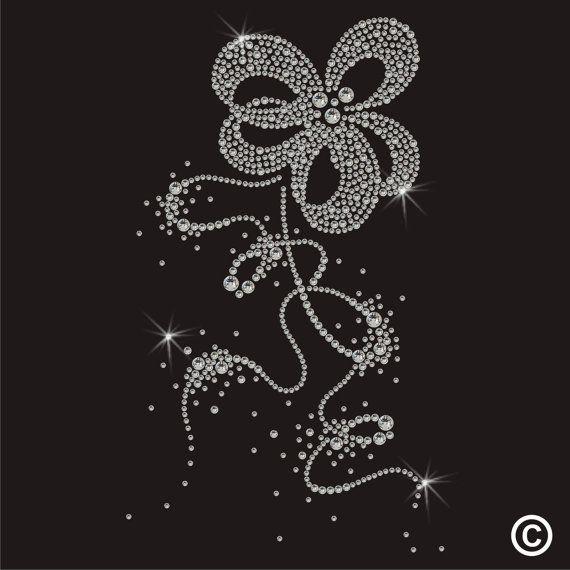 Floral Flower Rhinestone Diamante Crystal Motif Transfer Iron On Hotfix Applique via etsy