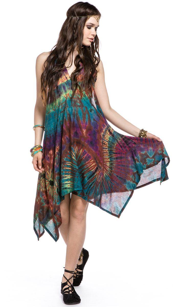 Платье с принтом тай-дай, узелковый батик, индийское платье, тайский стиль. 8830 рублей