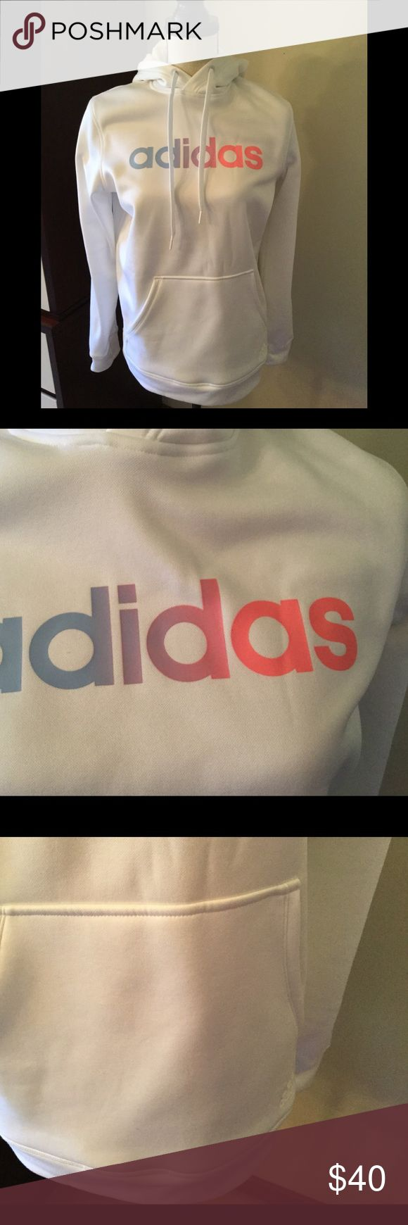 Adidas Clima Warm Sweatshirt 🎿🎾⚾️Adidas Ladies Clima Warm Hoodie Worn one time, perfect condition 💞💖super soft fabric, keeps you warm and cozy. Relaxed fit at shoulders , white with Pastel Logo.   Length 27 in Armhole to wrist 21 in Machine Washable, mild detergent  Imported   Perfect for daily wear or sports!☃️⚾️🤾‍♀️⛷ Adidas Tops Sweatshirts & Hoodies