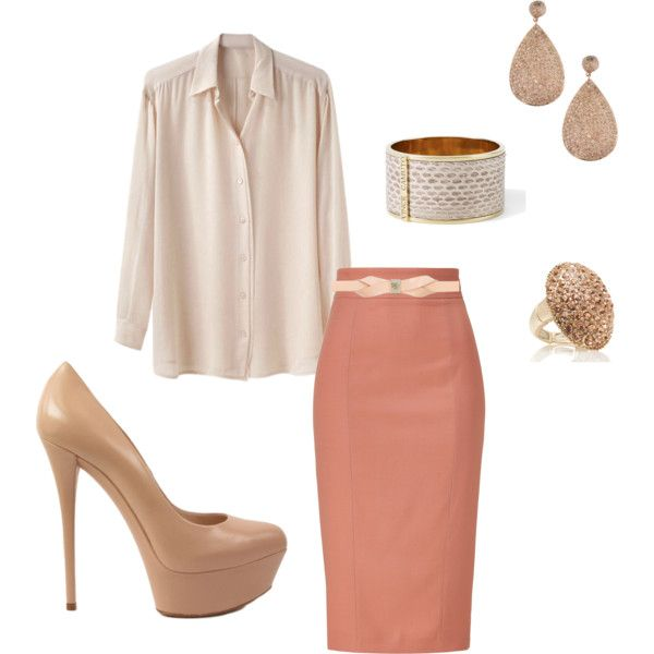 Love this and love polyvore! So goes with the Nudes and the Pencil Skirt Post at www.LadyBizness.Wordpress.com