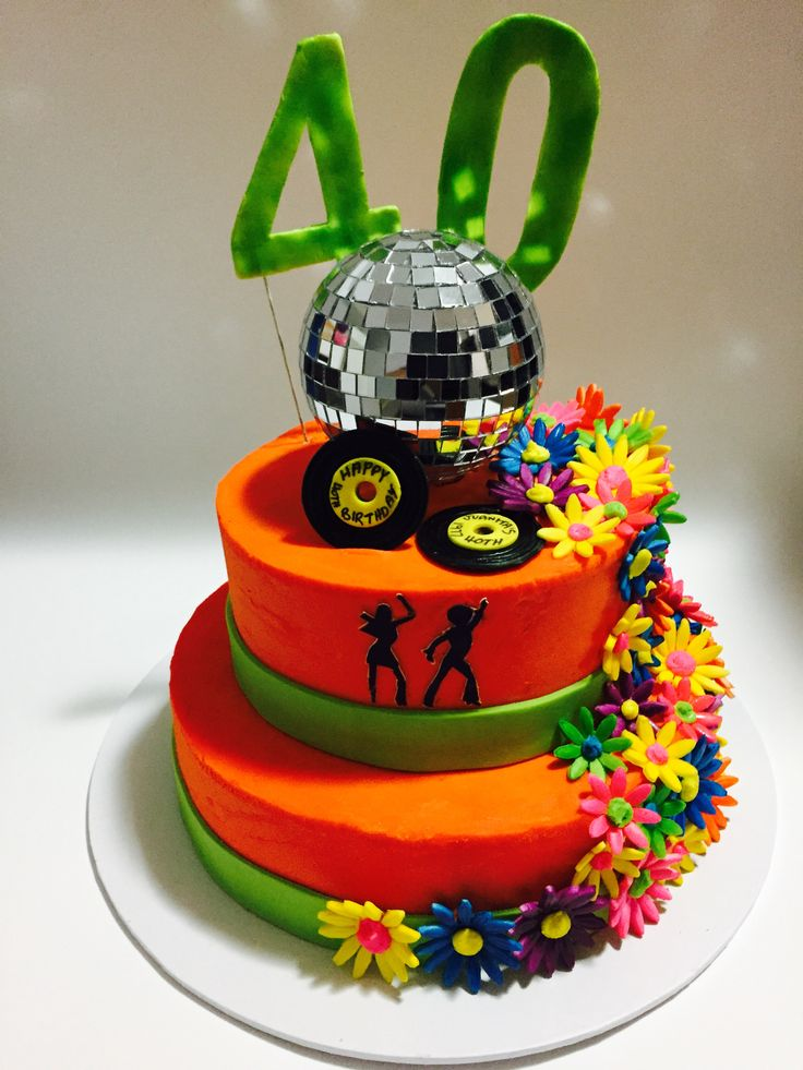70's Cake for a work colleague, Juanita's 40th birthday. Electric Americolors used. Disco ball lights up.