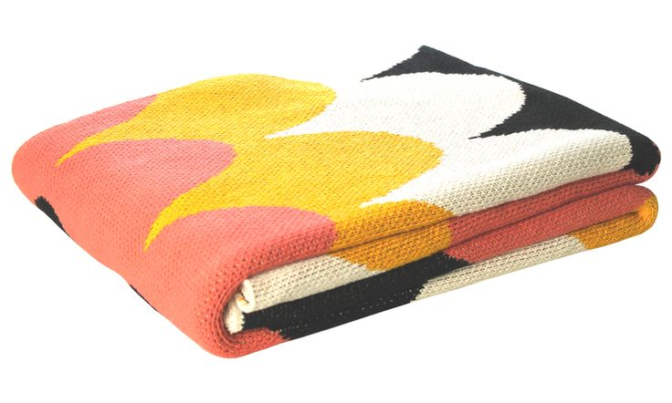 coral and mustard throw
