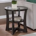 Eclipse Espresso Glass Top End Table | Overstock.com