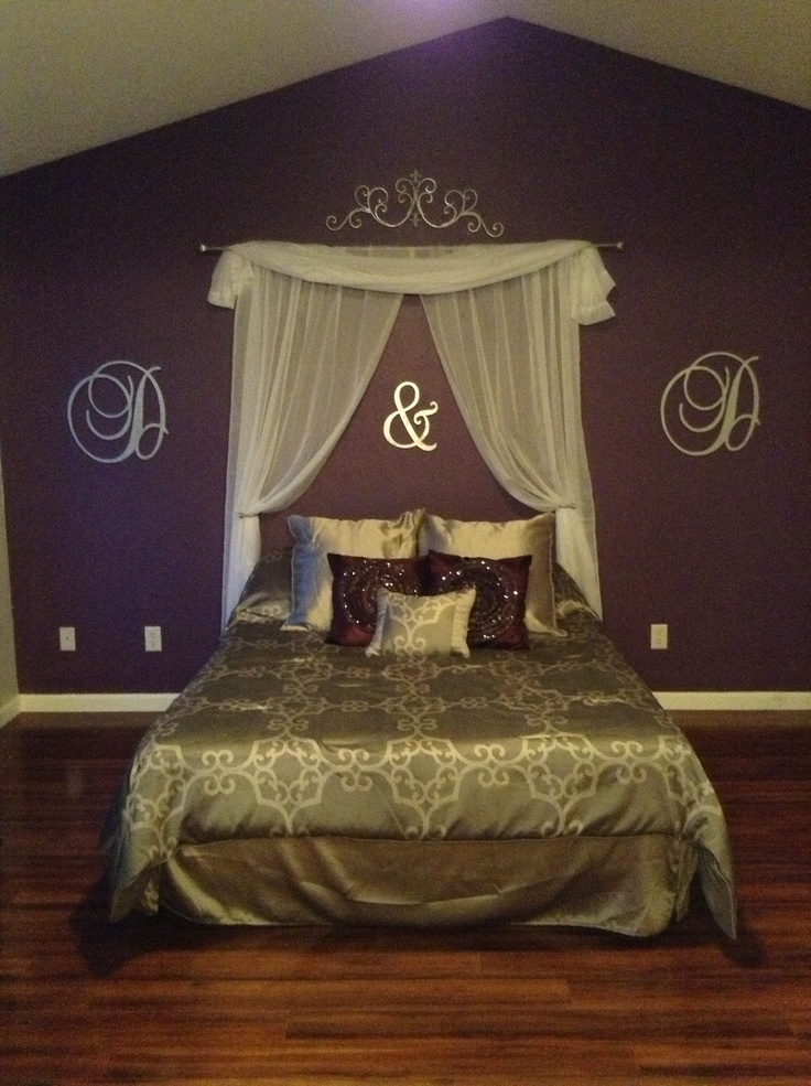 Curtain headboard and wooden letters for quick upgrade!
