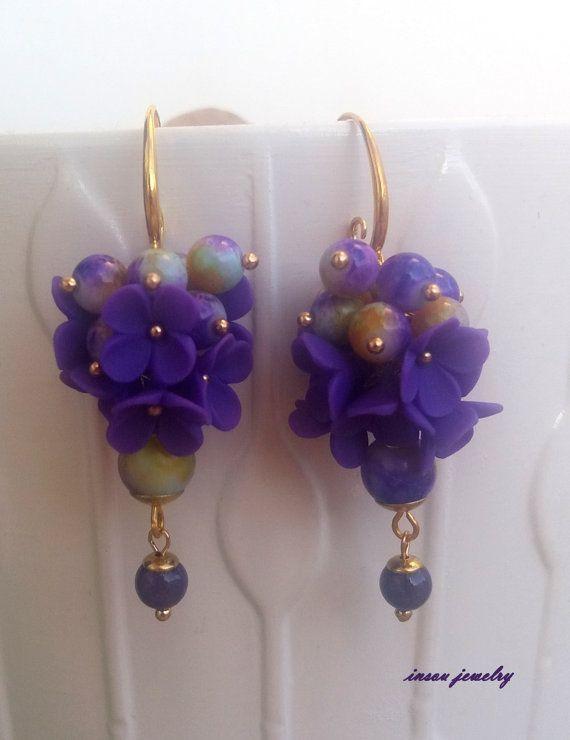Plum EarringsFlower EarringsPlum JewelryFlower by insoujewelry