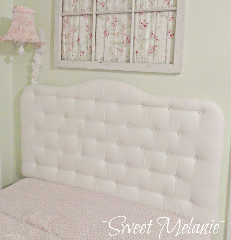 diy how to make a tufted headboard made using a foam mattress topper via sweet melanie. Black Bedroom Furniture Sets. Home Design Ideas