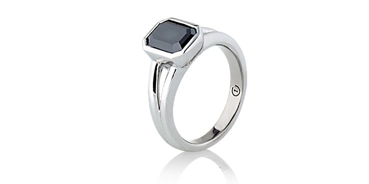 Diamonds don't have to be white! Black diamond ring emerald cut in white gold. #IvyandI