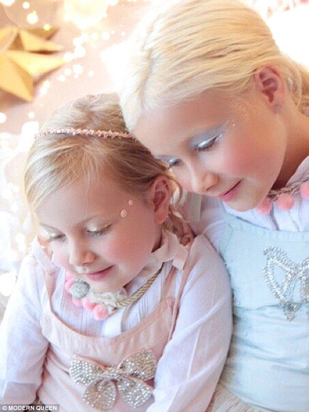 Mini-models: Tori Spelling's daughters Hattie (left), four, and Stella (right), seven, have made their modelling debut with plenty of glittering eye shadow as the star in the ad campaign forMODERN QUEEN Kids