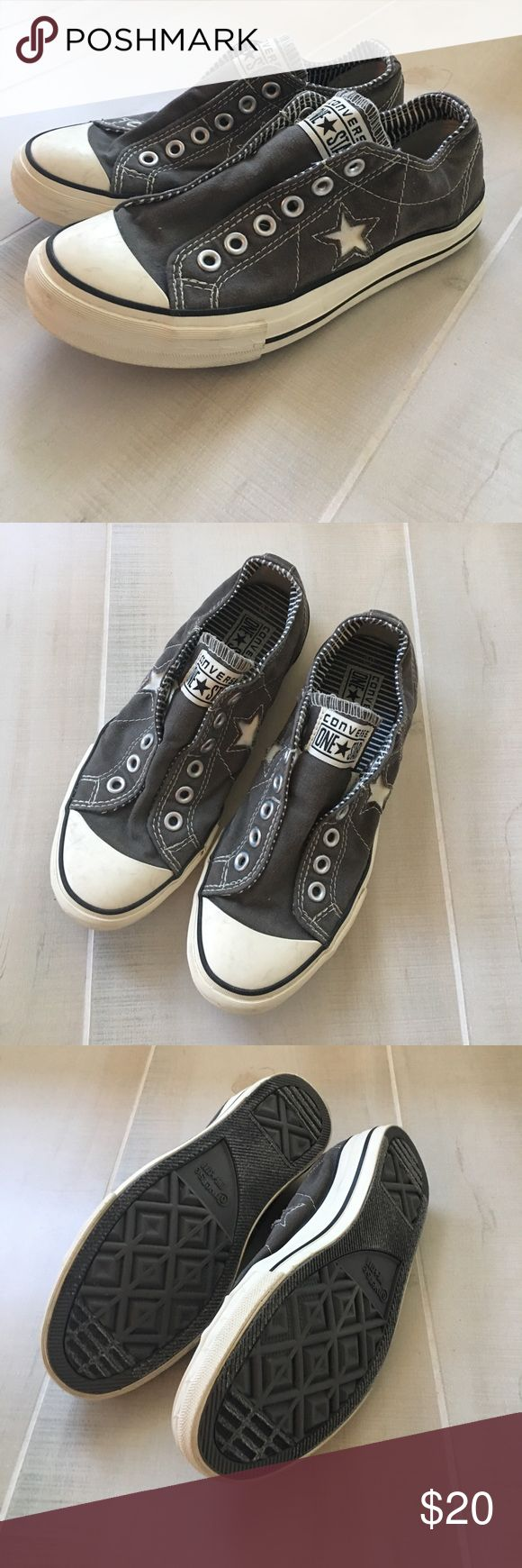 Converse Slip Ons 7.5 Converse Slip in with elastic. Style is not supposed to have laces. Brand new never worn. Converse Shoes Sneakers