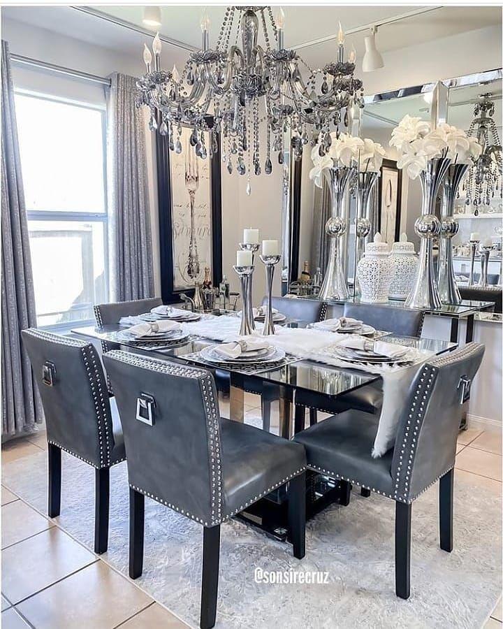 طاولة طعام فخمة رمادية Dining Room Glam Dinning Room Decor Home Decor