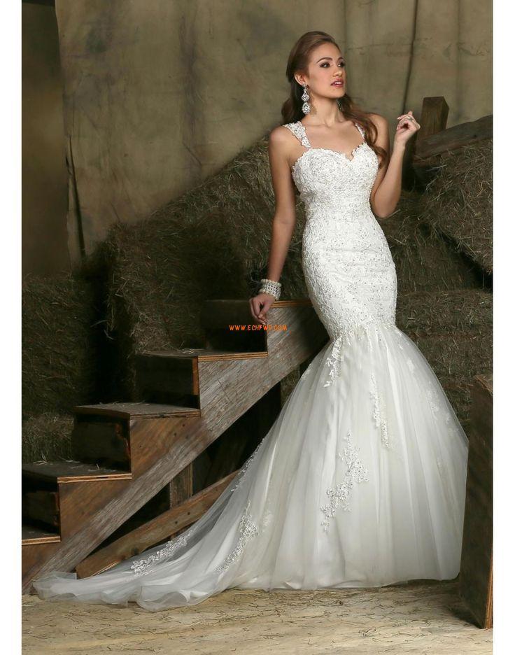 Špagetová ramínka Přesýpací hodiny Elegantní & moderní Levné svatební šaty