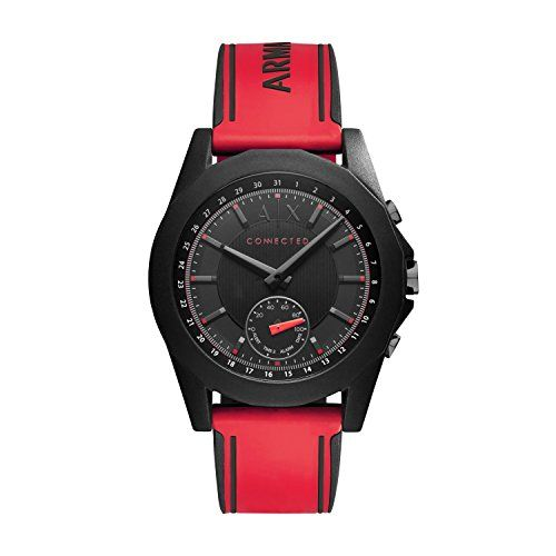 Armani Exchange Men's Connected Red Silicone Hybrid Smartwatch AXT1005 #Watch