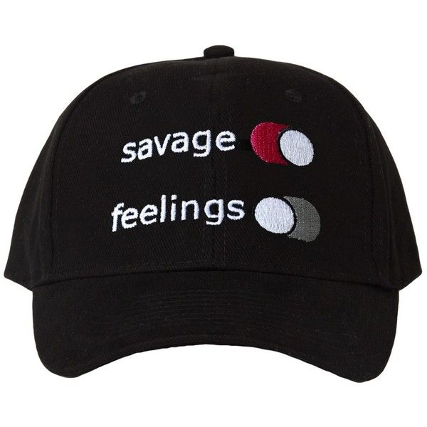 Savage Over Feelings Black Hat featuring polyvore, women's fashion, accessories and hats