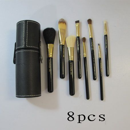 MAC PRODUCTS FOR CHEAP!!! mac cosmetics black 8 pcs brushes set with black bucket