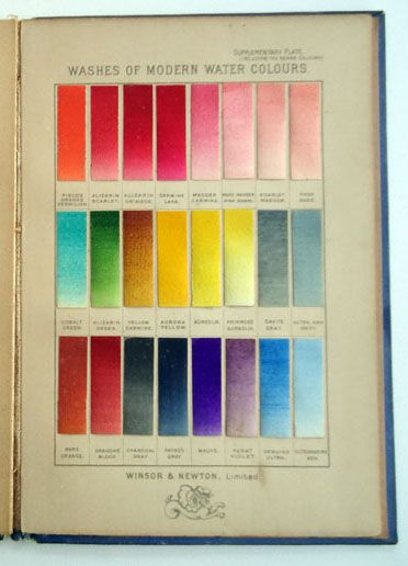 a late winsor newton watercolor paint chart from a book of 96 actual hand painted colours they offer at the time click photo for - Painting Color Book