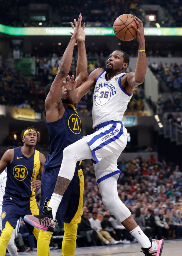 Thaddeus 2018 >> Golden State Warriors Forward Kevin Durant 35 Shoots Over