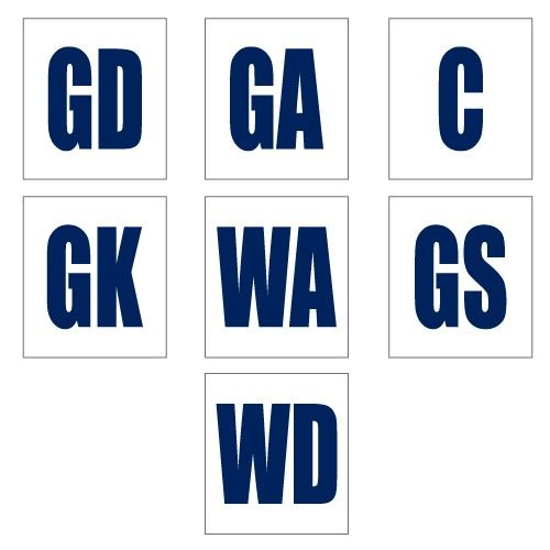 24fe47682a Netball Position Bibs White/Navy (Set) (NBWN) (incl GST) 75.00 Description  Complete set of 7 positions for front a… | Netball Singlets Uniforms Perth  ...