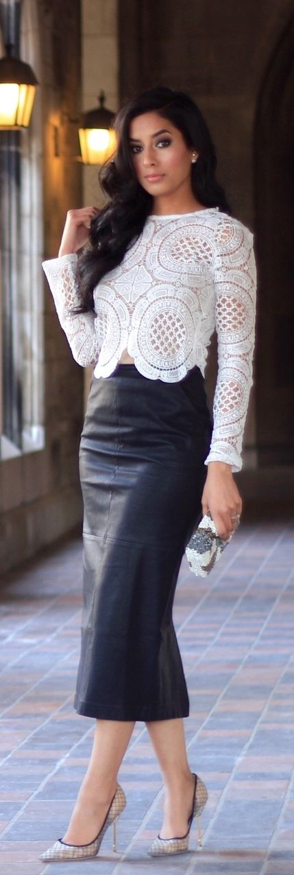 Lace + leather pencil skirt