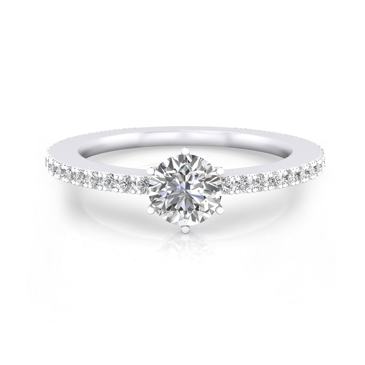 #Anillo de 3compromiso en #oro blanco con 40 #diamantes y 1 diamante talla brillante  https://www.clemenciaperis.com/es/anillos-de-compromiso/anillos-de-compromiso-oro-blanco-40-diamantes-1-diamante-talla-redonda-063