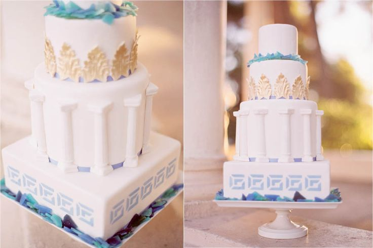 Three tiered cake designed with a Greek key, columns, gold acanthus leaves and sugar sea glass by Erica O'Brien