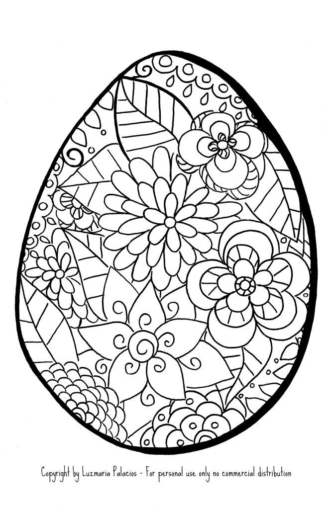 Easter eggs flowers coloring page