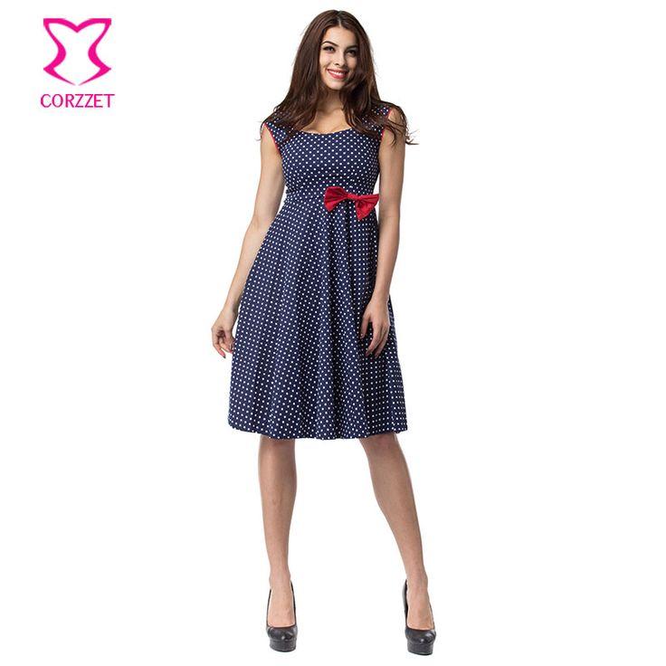 >> Click to Buy << Corzzet Retro Blue Polka Dot Dresses Summer 60s Rockabilly Audrey Hepburm Woman Ball Grown Dress Femininos Vestidos #Affiliate