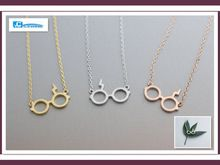 2015 collier gouden zilveren kettingen voor vrouwen harry potter bliksem litteken bril kettingen en hangers(China (Mainland))