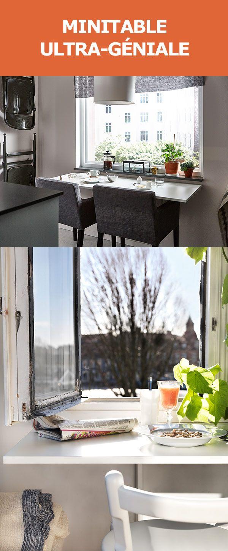 coin repas compos de deux tables murales abattant juxtaposes astuce gain de place qui permet. Black Bedroom Furniture Sets. Home Design Ideas