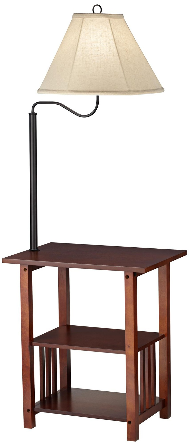 Madra Mission Style Mahogany End Table Floor Lamp | LampsPlus.com