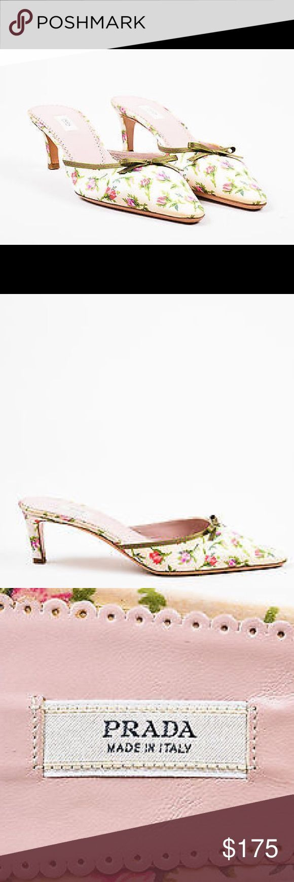Prada Kitten Heels – geblümte EUC Prada Heels in einem bezaubernden Rosa, Grün …  – Adorable Kittens