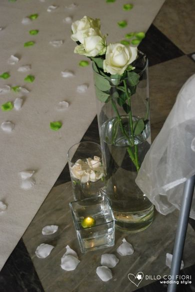 glass and candles in the nave