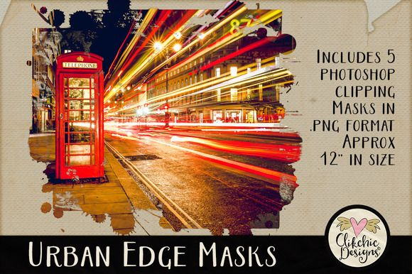 Urban Edge Photoshop Clipping Masks by Clikchic Designs on @creativemarket