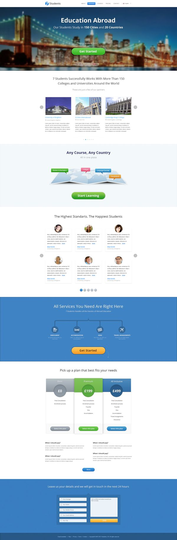 7 Students (Single-page website) by Ivo Ivanov, via Behance