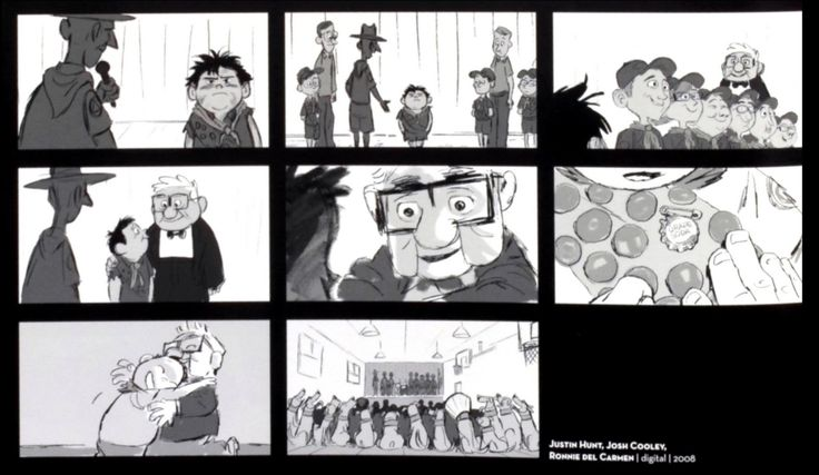 Storyboards from Up by Justin Hunt, Josh Cooley, and