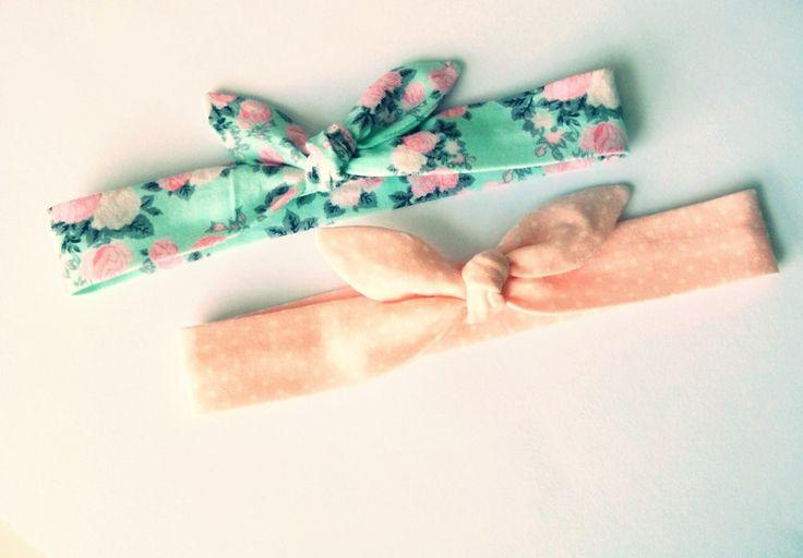 Dwie śliczne opaski pin up wąskie kropki róże - MadebyKaza - Opaski dla niemowląt