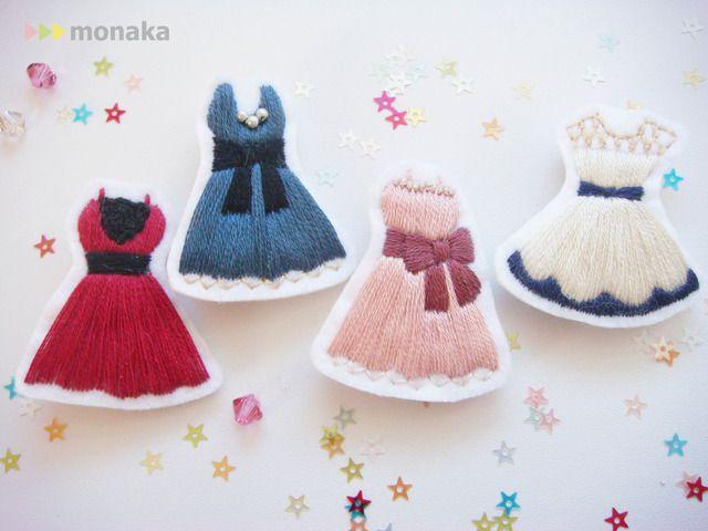 ハンドメイドマーケット minne(ミンネ)| *party tonight*ドレスの刺繍ブローチ ドレスのみver.