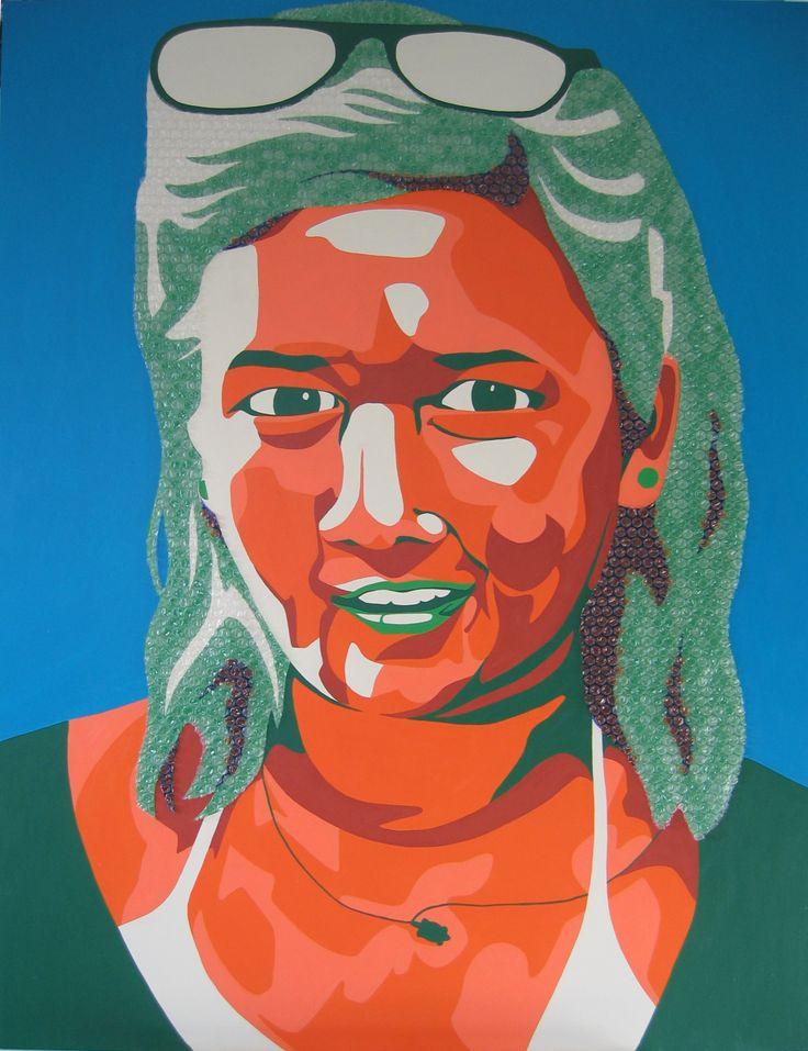 Commissioned portrait. Kare Grayson MFA. Acrylic, ink and bubblewrap on board.