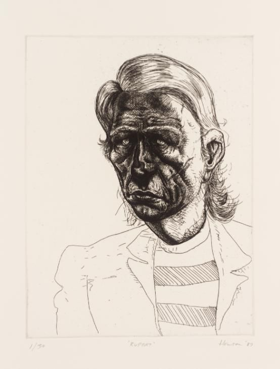 Peter Howson 'Rupert', 1987, 32.5x24.8cm, etching on paper.
