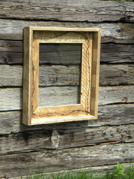 Decorative Picture Frame, Cabin Decor, Large Picture Frame, Photo Frame, Rustic Home Decor, Reclaimed Pallet Wood, Wall Hanging, Home Decor on Etsy, $115.00