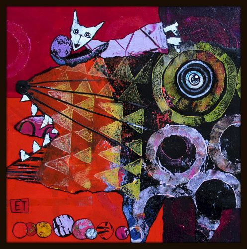 Elke Trittel acrylics,collage on board 20/20cm