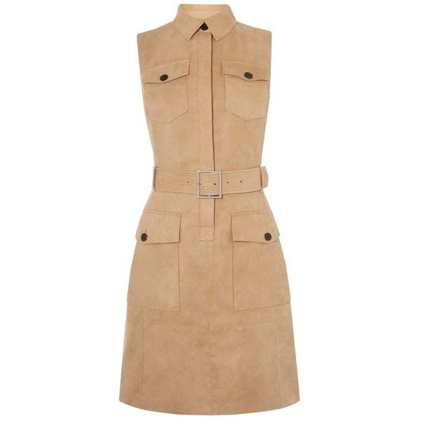 Karen Millen Faux Suede Safari Dress, Camel (260 BAM) ❤ liked on Polyvore featuring dresses, maxi dress, long-sleeve mini dress, mini dress, floor length dress and midi dress