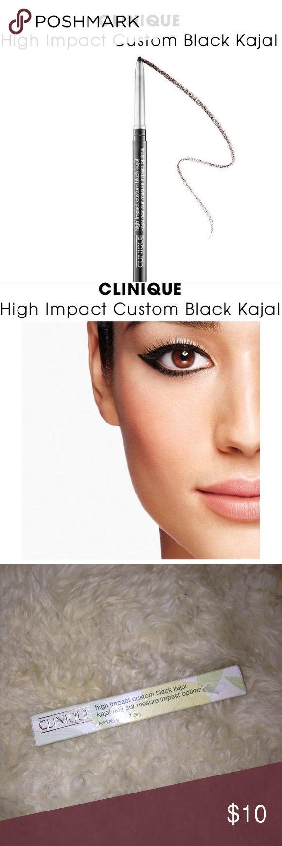 Clinique high impact custom black kajal eyeliner New in Box •Color is 04 blackened blue   A pigment-packed kajal eyeliner pencil.  For kicked-up eye drama, go bold and black with this unique eyeliner. This pigment-packed kajal pencil delivers rich, dark color with 12 hour hold. It's formulated to resist smudging, sweat, humidity, and water.  formulated WITHOUT:  - Parabens  This product is ophthalmologist and allergy tested and free of fragrance, formaidehyde, formaidehyde resin, toluene…